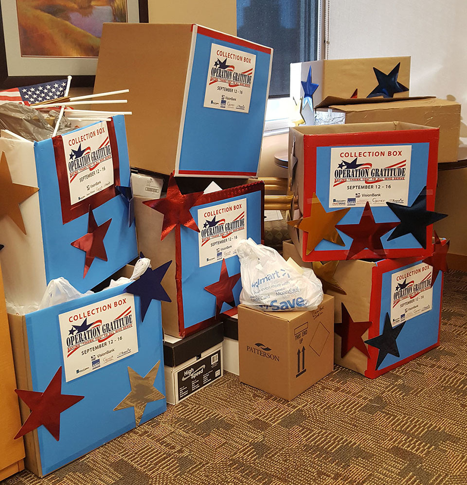 The outpouring of support and donations towards our VisionBank Operation Gratitude drive resulted in a huge delivery of supplies to send in care packages to our troops deployed overseas.